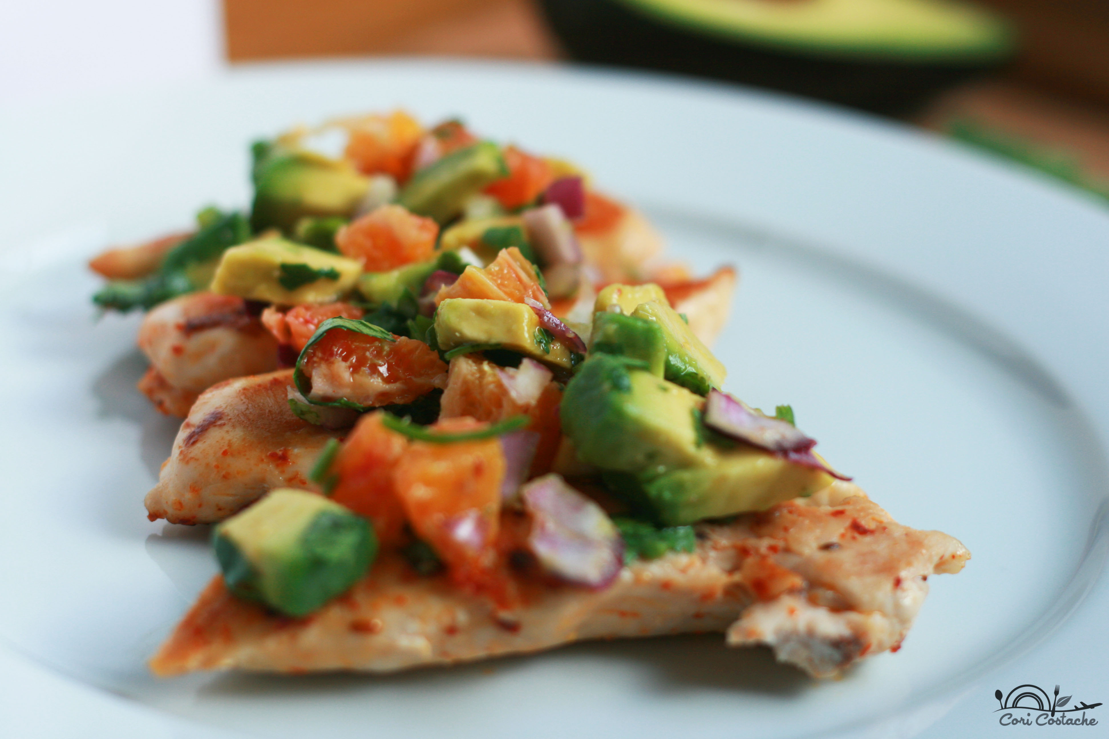 spicy chicken with blood orange and avocado salsa