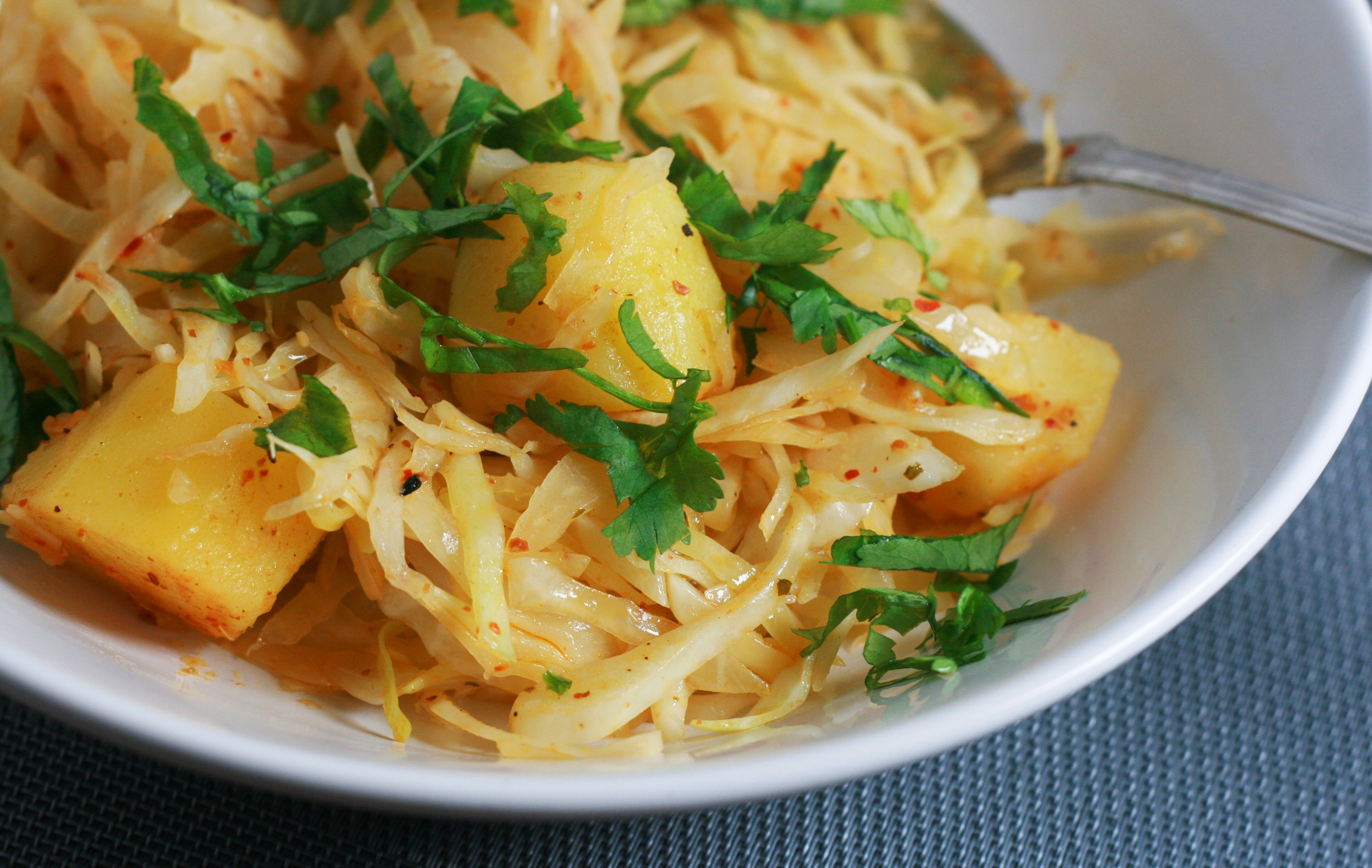 Middle-eastern style cabbage with flavored butter potatoes