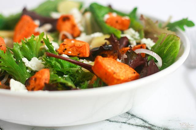 Roasted Sweet Potatoes Salad With Honey Mustard Dressing